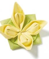 Gele bloem servetten origami 12 stuks