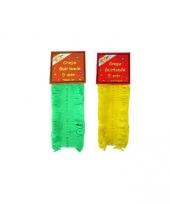 Gele en groene crepe slingers