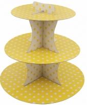 Gele etagere 3 laags met witte stippen 30 cm