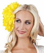 Gele flamenco haarbloem 20 cm