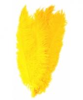 Gele grote sier veertjes 50 cm