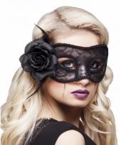 Gemaskerd bal oogmasker zwart met roos