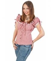 Geruite cowboy blouse voor dames rood wit
