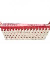 Gestoffeerd mandje met keramieken handvaten large rood