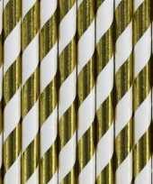 Gestreepte rietjes van papier goud wit 30 stuks