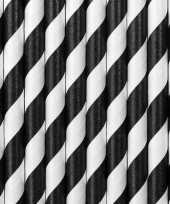 Gestreepte rietjes van papier zwart wit 30 stuks