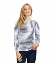 Gestreepte shirts voor dames wit blauw