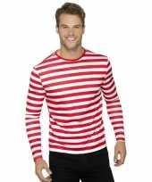 Gestreepte shirts voor volwassenen wit rood