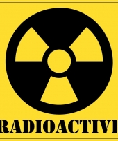 Gevaarsymbool radioactive radioactief sticker 10 5 cm