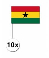 Ghana zwaai vlaggetjes 10 stuks
