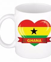 Ghanese vlag hartje koffiemok 300 ml