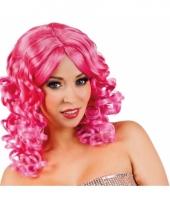 Glamour krullen pruik roze 10047284