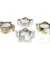 Glazen kerstster theelichthouders zilver goud 4 stuks