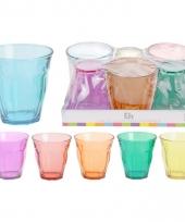 Glazen set gekleurd hoekig 6 stuks