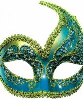 Glitter oogmasker blauw en goud