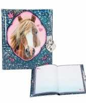 Glitter paardendagboek met slotje blauw