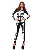Glow in the dark skelet bodysuit voor dames