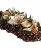 Goud kerststukje met waxinelichthouders 30 cm
