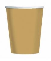 Gouden kartonnen drinkbekers 8 stuks