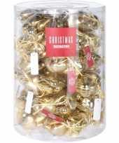 Gouden kerstversiering hartjes kerstballen 10 stuks