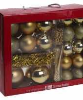 Gouden kerstversiering kerstballen set 48 delig kunststof