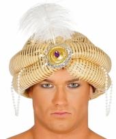 Gouden maharajah tulband met veer