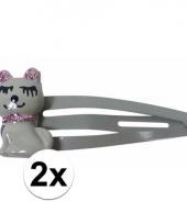 Grijze haarspeldjes met kat poes