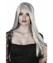Grijze heks verkleed pruik stijl haar