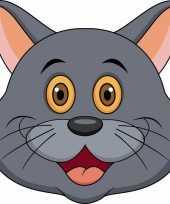 Grijze kat maskertjes voor kinderen