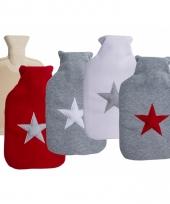 Grijze warm water kruik met rood sterretje