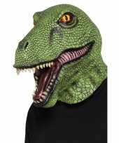 Groen dinosaurus masker voor volwassenen