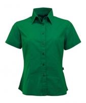 Groen katoenen overhemd met korte mouwen voor dames