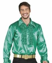 Groen overhemd met rouches