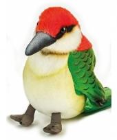Groen rood vogeltje knuffeldier 14 cm