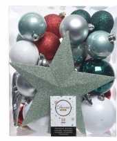 Groen zilver wit kerstballen pakket met piek 33 stuks