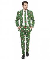 Groene business suit met kerst print 10077605