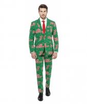 Groene business suit met kerst print