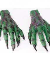 Groene griezel handen