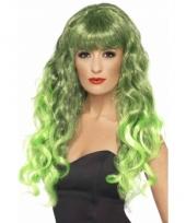 Groene krullenpruik dames