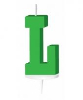 Groene letter kaars l
