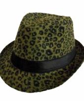 Groene party hoed met panter print