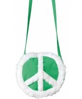 Groene tas met pluche peace teken