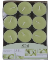 Groene theelicht kaarsjes met meloengeur 24 stuks