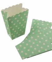 Groene wegwerp popcornbakjes met witte stippen 8x