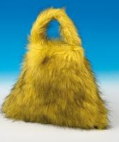 Grote gele tas van nep bont