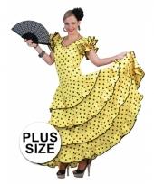 Grote maat carnavalskleding geel flamencojurk