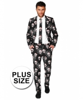 Grote maat doodshoofden print business suit