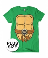 Grote maat feest ninja turtles t-shirt voor volwassenen