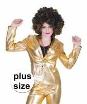 Grote maat gouden disco seventies colbert jasje voor dames