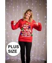 Grote maat kerstsweater rood voor vrouwen